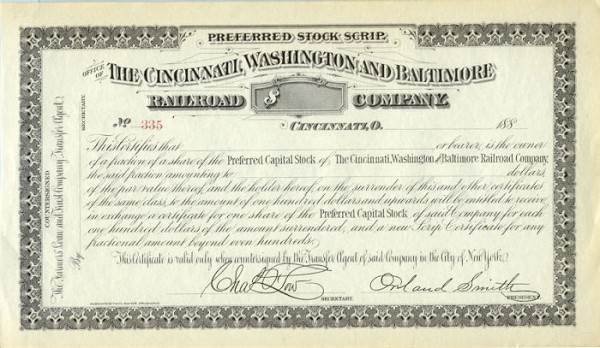 Cincinnati Washington Baltimore preferred stock scrip